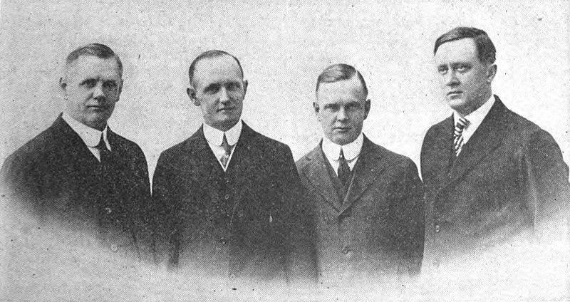 Founders of the Harley-Davidson Motor Co. Wm. A. Davidson, Vice President and Works Manager; Walter Davidson, President and General Manager; Arthur Davidson, Secretary and Sales Manager; William S. Harley, Treasurer and Chief Engineer