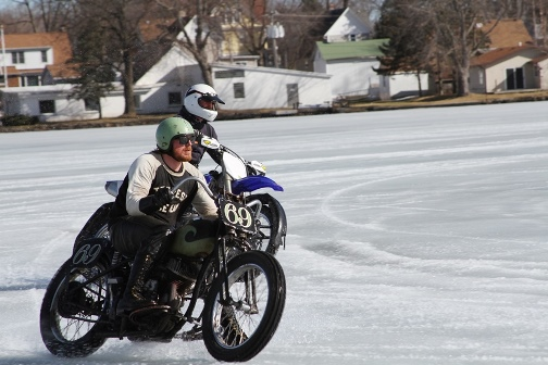 Motorcycles at an ice racing competition at the McKinley Marina