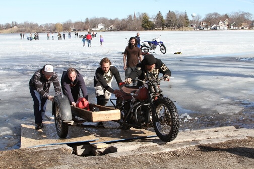Motorcycle with sidecar at ice racing event