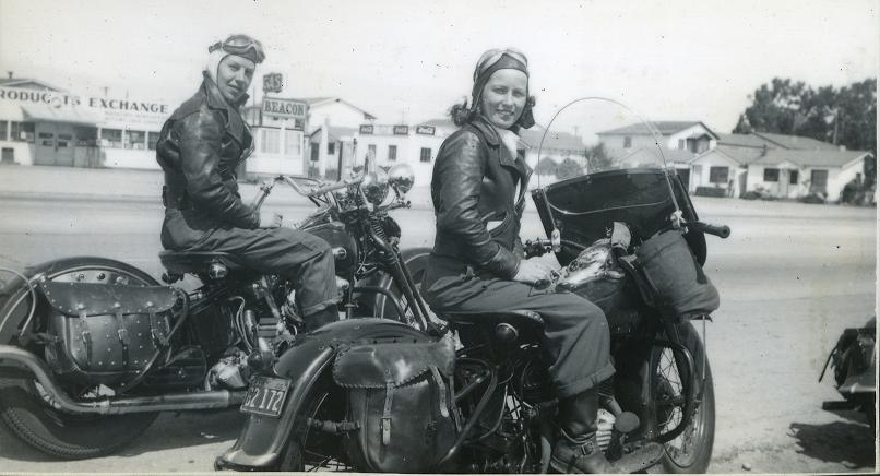 Some of the first Women motorcycle riders on vintage bikes