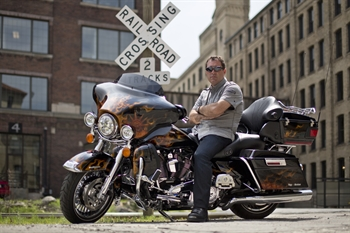 Attorney Jason Abraham on a bike for Daytona Bike Week