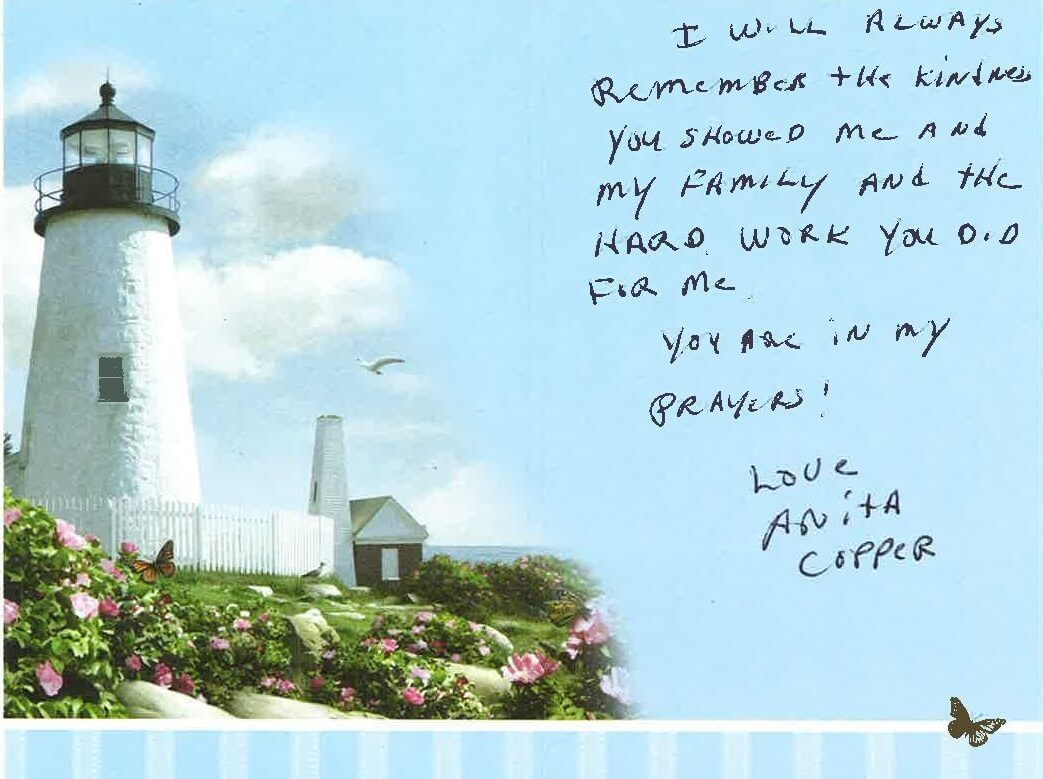 Anita Cooper thank you card