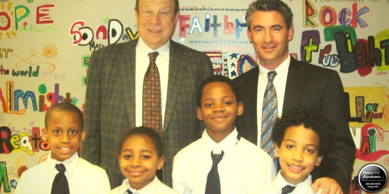 Attorney Michael Hupy with students from St Marcus Lutheran school