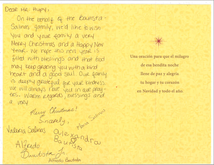 Bautista Christmas card and thank you note