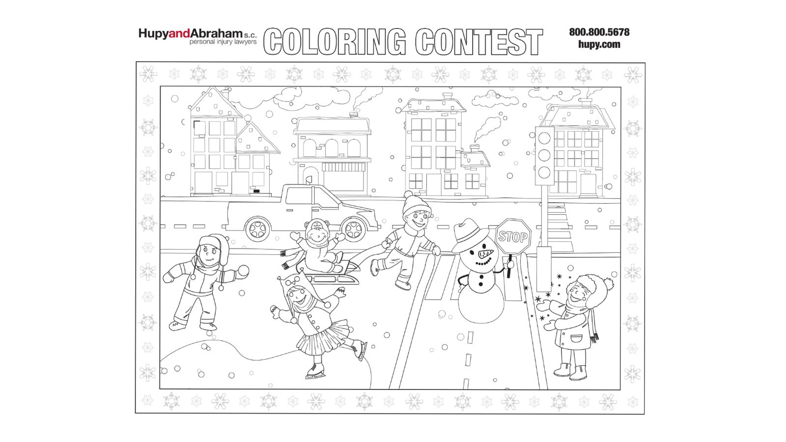 Coloring Contest of kids playing in snow