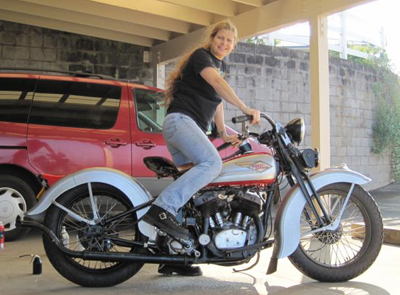 Sharon Jacons on her 1936 Indian Scout