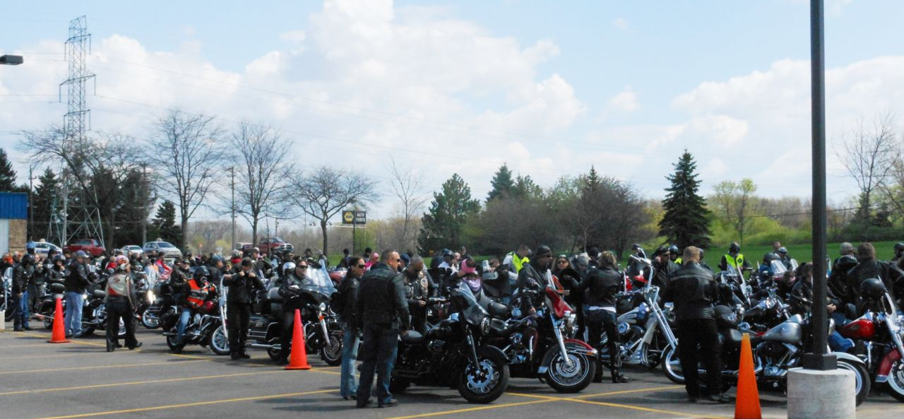 Many motorcycles at 11th Annual Support the Troops Ride