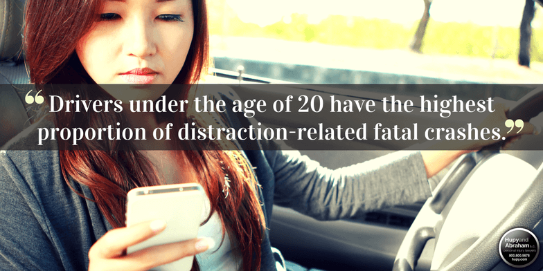 Drivers under the age of 20 have the highest proportion of distraction-related fatal crashes