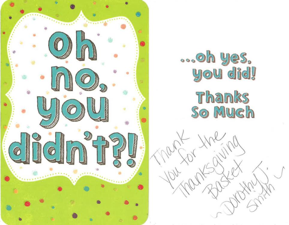 Dorothy J Smith thank you card