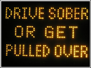 Road caution sign saying...Drive Sober or get pulled over