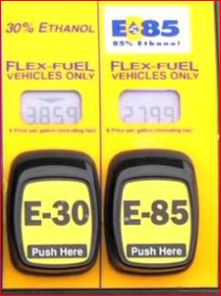 E-30 and E-85 fuel blends at gas pump