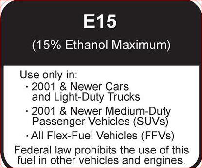 E15 fuel warning