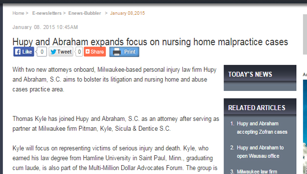 Announcement: Hupy and Abraham expand into nursing home abuse cases