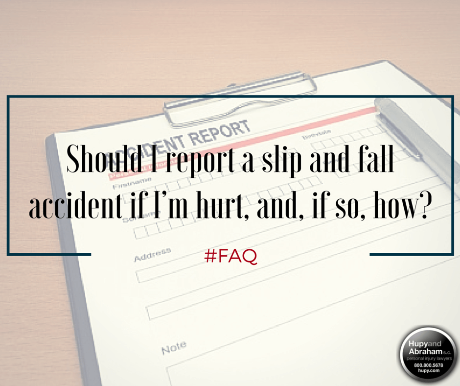 You should promptly file an accident report after being injured on someone else's property