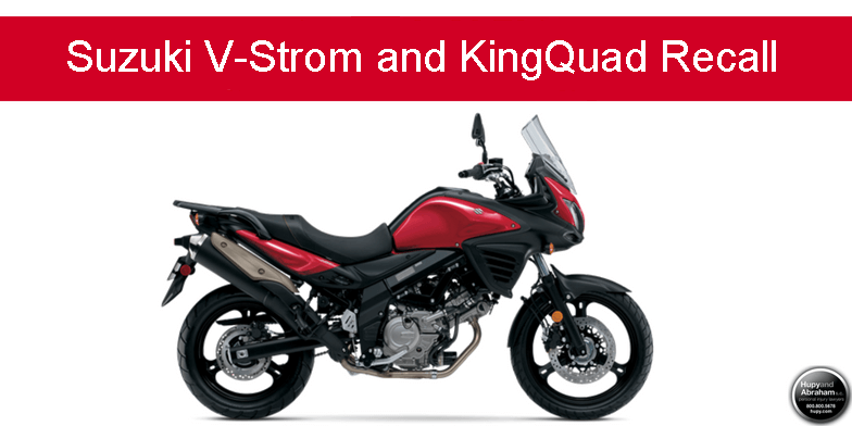 Suzuki V Strom and KingQuad Recall warning