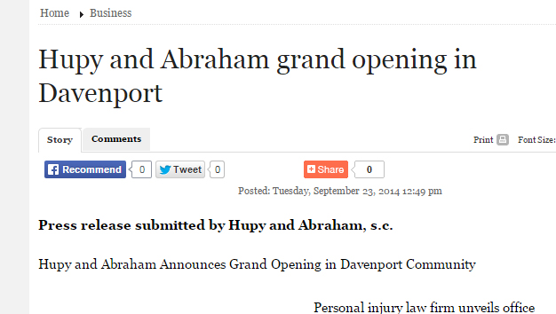Hupy and Abraham Grand Opening in Davenport