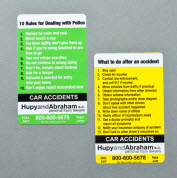 Green and Yellow car accident cards