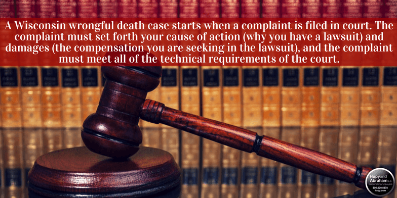 A wrongful death case begins by filing a complaint with the court