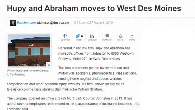 Announcement of relocation of West Des Moines office