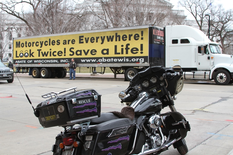 semi truch and motorcycles with text Motorcycles are Everywhere! Look Twice! Save a life!