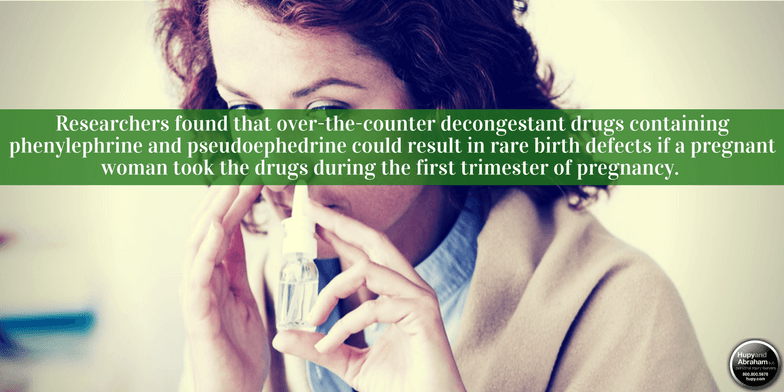 Decongestants have been linked to birth defects