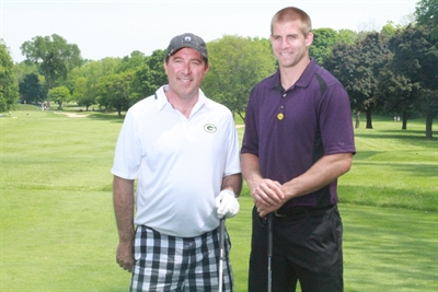 Attorneys Jason Abraham with Packers Jordy Nelson at Lombardi Golf Classic