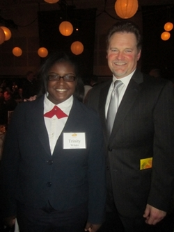 Attorney Jim Schilobrit with St. Marcus student, Trinity Wilder.