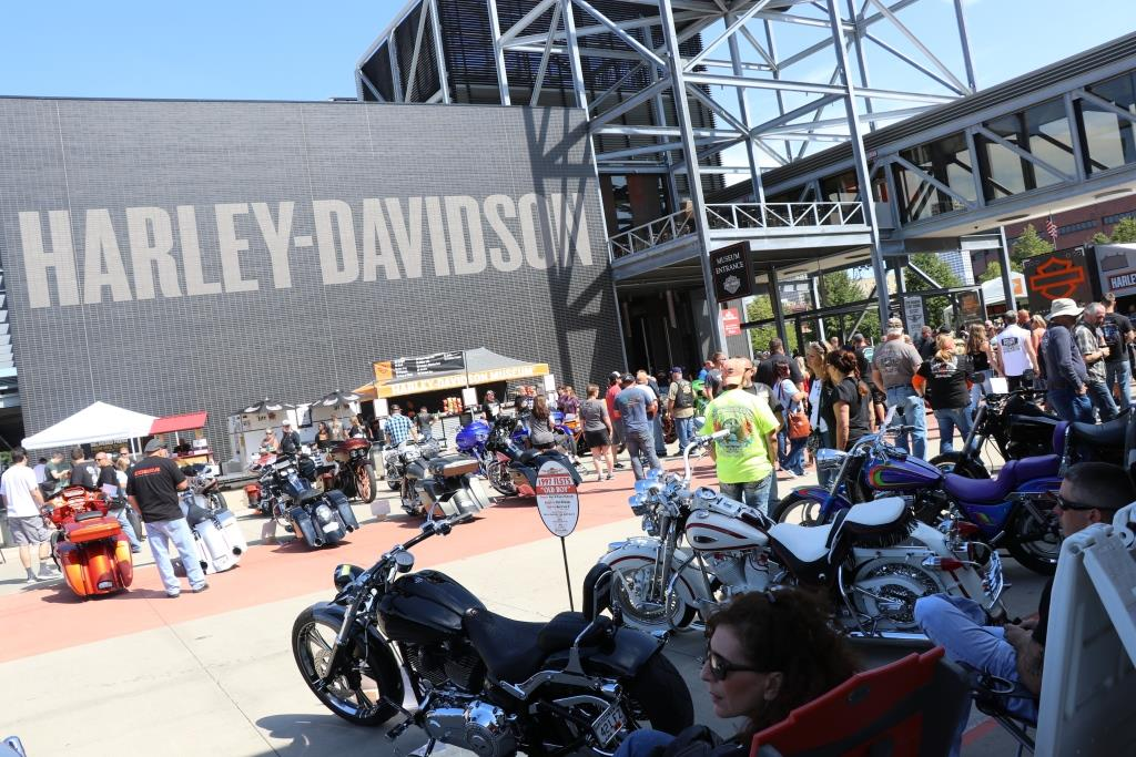 Crowd of people and motorcycles at The Milwaukee Rally