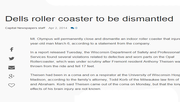 Wisconsin Dells Permanently Closes Roller Coaster Article