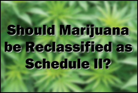 Text Should Marijuana be Reclassified as Schedule 2? With weed in the backgroun