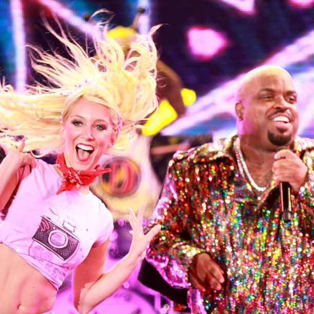 Maxine Hupy and CeeLo Green on stage during tour