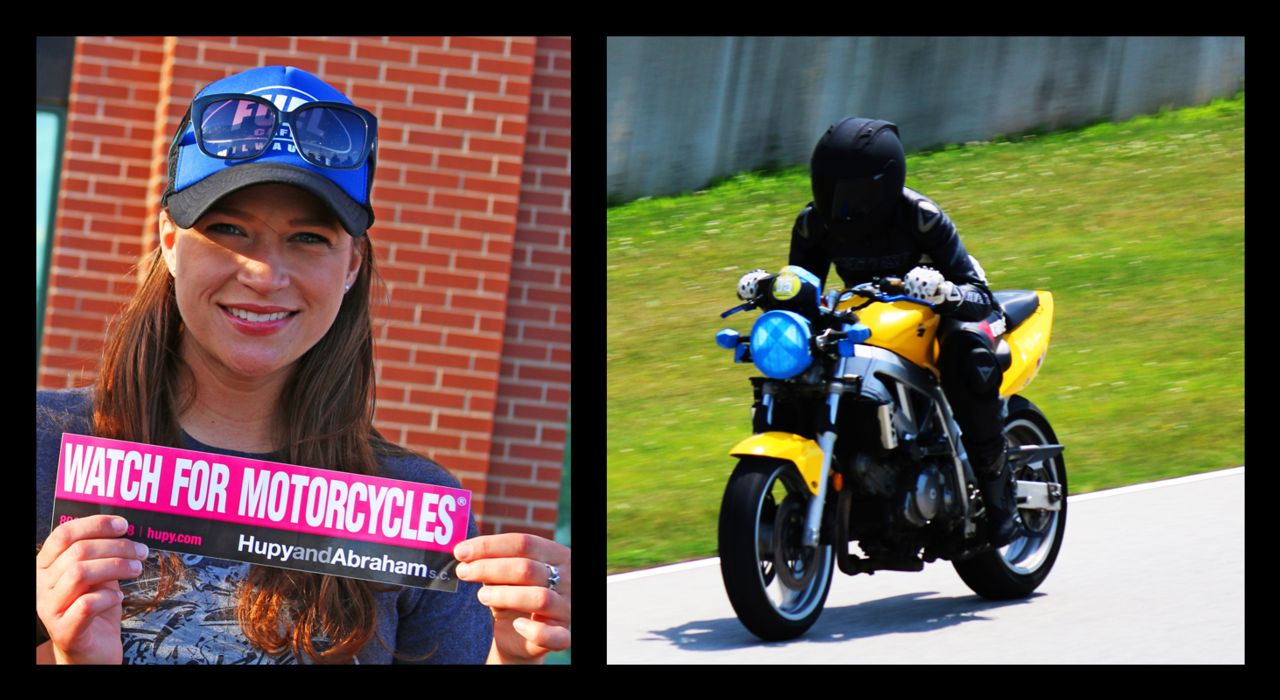 Melissa Huranitch with Watch for Motorcycle sticker