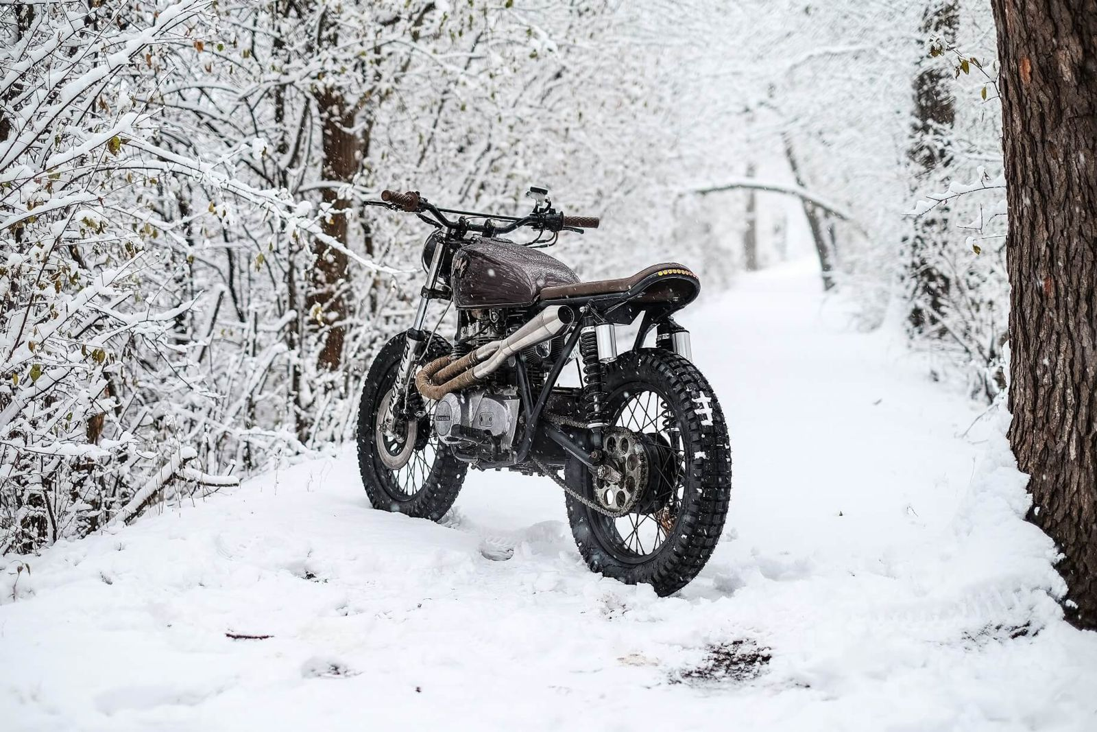 Motorcycle on snowy street