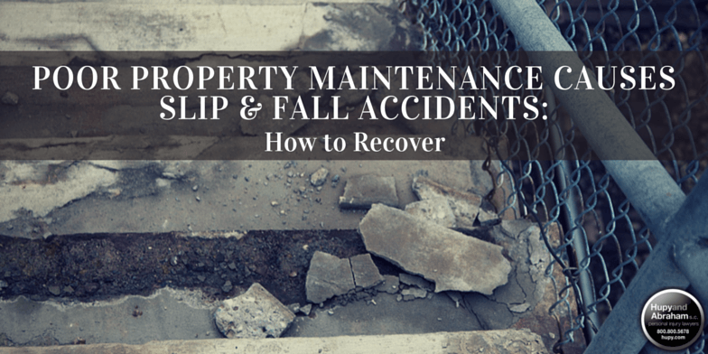 Busted concrete walkway on poorly maintained property