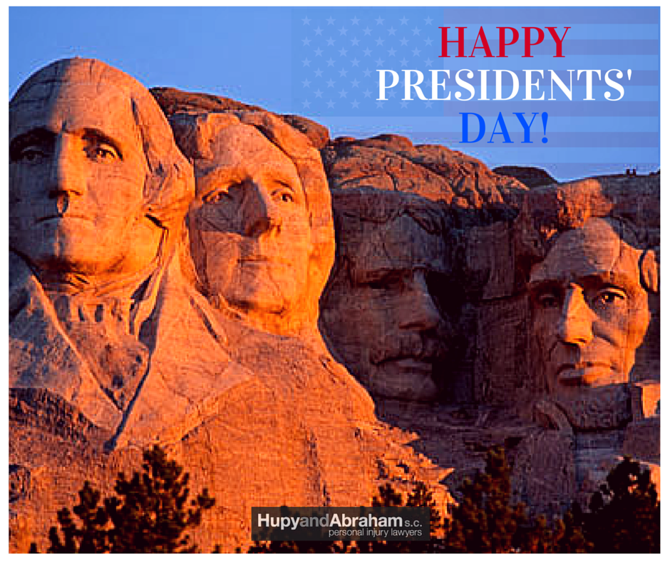 Presidents Day text with Mount Rushmore