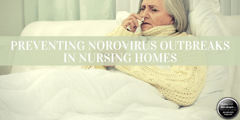 Nursing home resident with Norovirus sitting in bed