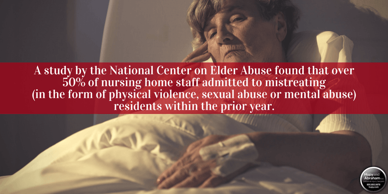 Nursing home resident who's been physically abused laying in bed