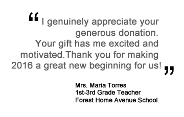 Mrs. Maria Torres quote thanking Hupy and Abraham for holiday gift