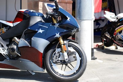 Motorcycle with american flag paint job