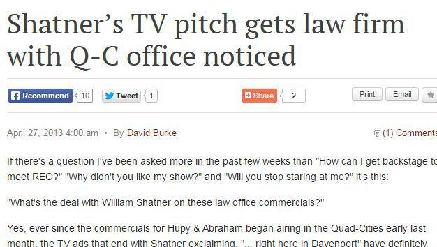 Shatner Commercials article