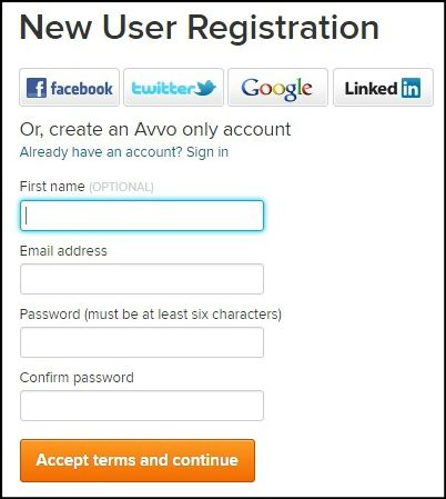 New user registration on Avvo.com