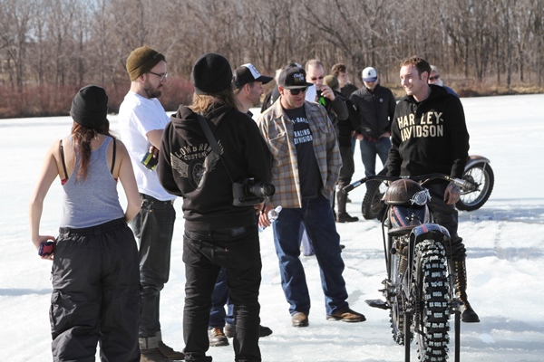 motorcycle event group outside in the snow