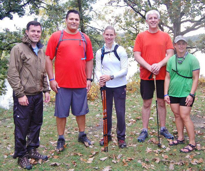 Attorney Chad Kreblin with volunteers hiking for charity