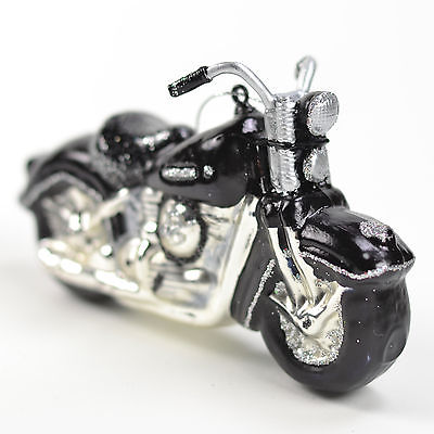 Sportster Black Motorcycle Glass Ornament