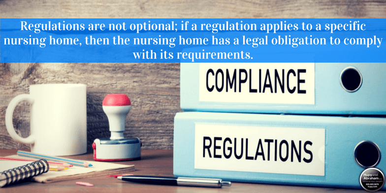 Failure to follow state and federal regulations may harm nursing home residents