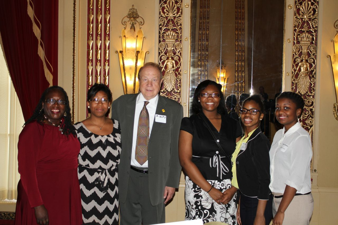 Michael Hupy with scholarship applicants at 2014 VelanDale Award Banquet