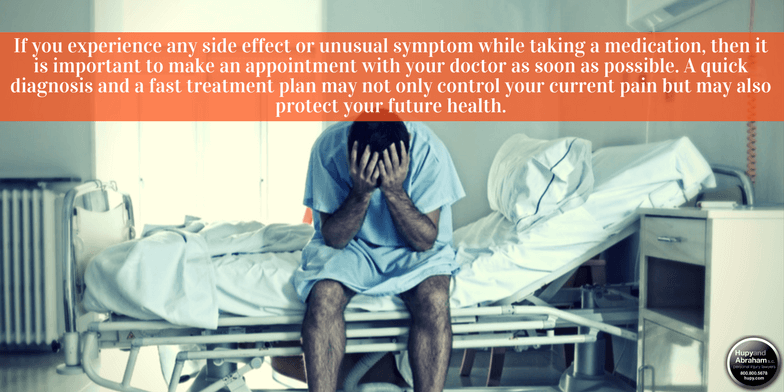 If you experience any side effect or unusual symptom while taking a medication, then it is important to make an appointment with your doctor as soon as possible. A quick diagnosis and a fast treatment plan may not only control your current pain but may also protect your future health.