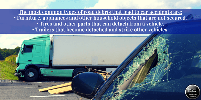 Learn about vehicle accidents caused by road debris.