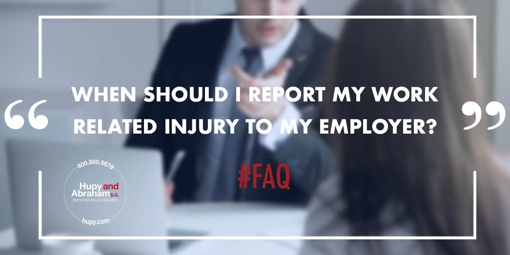 Attorney discussing with client when to report injury to employer
