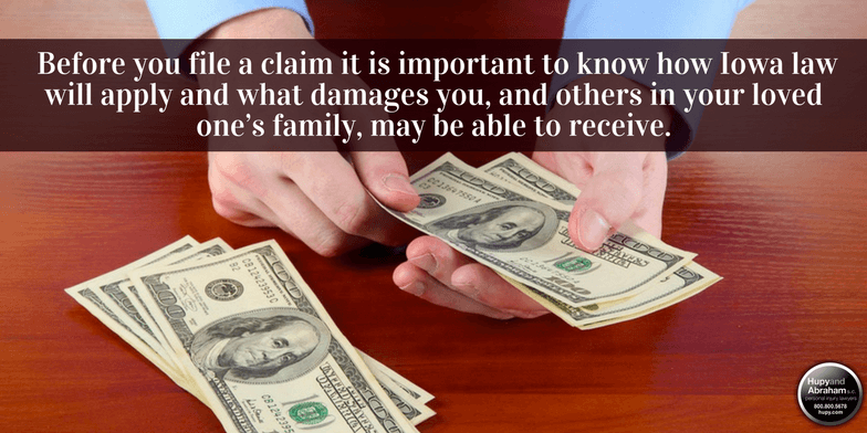 Iowa law determines who receives compensation from a wrongful death claim.